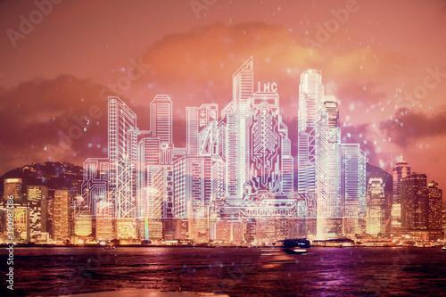 Double exposure of buildings hologram over cityscape background Tapéta, Fotótapéta