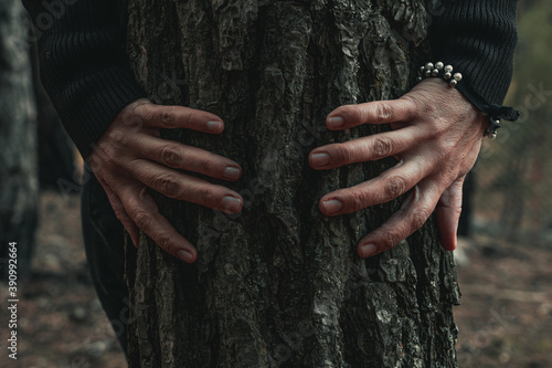 The details woman's hand while she is hagging and touching trees in the autumn forest Fototapet