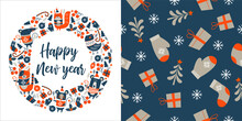 New Year Greeting Card, Vector Illustration. Set Of Festive Christmas Decorations.