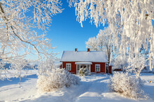 Red Cottage In A Beautiful Cold Winter Landscape