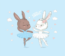 Illustration Of Two Brown And White Dancing Ballerina Bunnyes. Little Rabbits Dancing Girls Over Blue. Can Be Used For T-shirt Print, Kids Wear Fashion Design