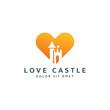 love and castle negative space logo design