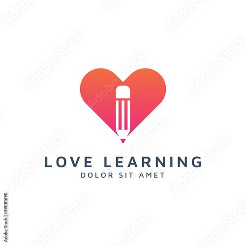 Photo love education negative space logo design