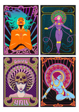 Sexy Beauties Psychedelic Art Posters, Art Nouveau Frames