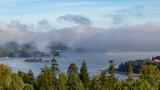 Fototapeta Na ścianę -  Poranna mgła w Bieszczadach - Jezioro Solińskie