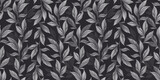 Botanical seamless pattern with vintage graphic peony leaves. Hand-drawn illustration. Black and white design. Good for production wallpapers, cloth, fabric printing, goods. - 391032203