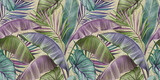 Tropical exotic seamless pattern with color vintage banana leaves, palm and colocasia. Hand-drawn 3D illustration. Good for production wallpapers, cloth, fabric printing, goods. - 391039823