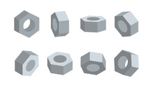 3D Nut In Various Angles Vector. Nuts Top View, Side View, Half Turn.