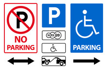 Parking Sign Icon Vector Set. Paid And For Disabled People, Car Evacuation.