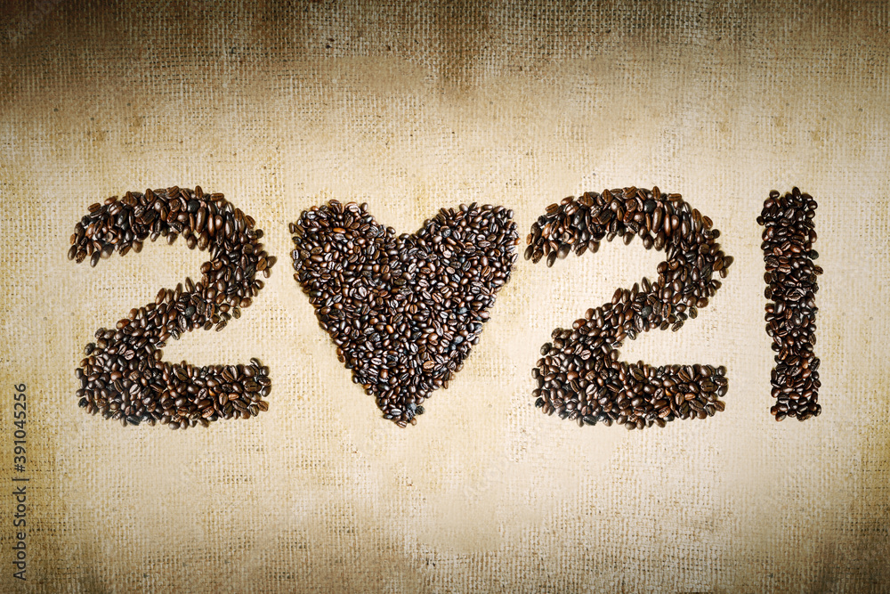 Fototapeta Coffee beans shaped 2021 numbers and heart symbol
