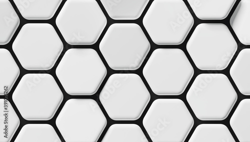 Carta da parati Abstract white hexagon background; light honeycomb pattern; close up of hex geom