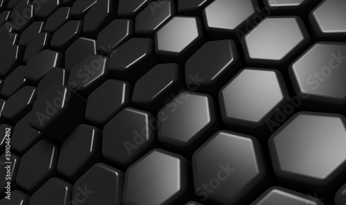 Fotografia Abstract black hexagon background; dark honeycomb pattern; close up of reflectiv
