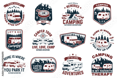 Canvas Print Set of rv camping badges, patches