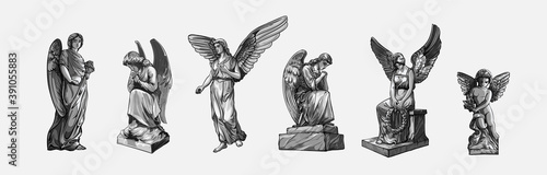 Fotografia Set off Crying praying Angels sculptures with wings