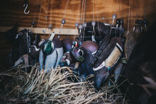 Duck Hunting Decoys Hang In A Trailer Ready To Be Deployed.
