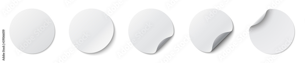 Fototapeta Circle adhesive symbols. White tags, paper round stickers with peeling corner and shadow, isolated rounded plastic mockup, realistic set round paper adhesive sticker mockup with curved corner - vector