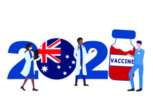 2021 Year. Covid-19 Vaccine With Australia Flag And Doctors On White Background. Australia Card On The Theme Of Fighting The COVID-19 Epidemic With The Hope Of Receiving A Vaccine By 2021