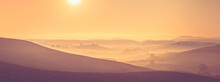 Morning Golden Hour Panorama Of Tuscany Landscape With Mist, Rolling Hills And Farm Houses