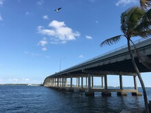 Rickenbacker Causeway Bridge Miami That Connects Miami To Key Biscayne And Virginia Key. Photo Image