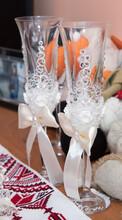 Two Fancy Wedding Goblets Glasses