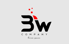 Black Red BW B W Alphabet Letter Logo Icon Combination. Design For Business And Company