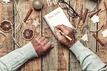 Elderly Senior Hands Writing L...