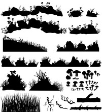 Big Set Of The Vector Stones And Rocks With Grass And Flowers. Mountain Tall And Short Plants, Grassy Hummocks, Stumps, Mushroom Hand Drawn Silhouettes.
