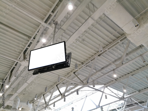Canvas Print LCD TV with empty copy space, ceiling monitor