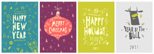 Vector Illustration. A Set Of Christmas And New Year Cards And A Postcard In The Year Of The Bull.