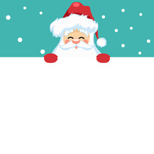 Merry Christmas Card Design With Santa Claus For Dedication