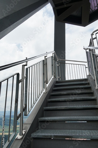 Photo Stairway on the observation tower Uetliberg in Zurich, Switzerland, upward perspective