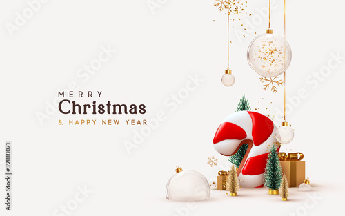 Obraz Christmas and New Year background. Xmas pine fir lush tree. Candy cane from cookies, golden gifts box. Glass Balls hanging on ribbon. Bright Winter holiday composition. Greeting card, banner, poster - fototapety do salonu