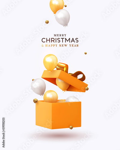 Fototapeta Merry Christmas and Happy New Year. Xmas design realistic gifts box, falling helium balloons, 3d golden chocolate candies. Holiday gift background. Poster, banner, brochure, flyer. vector illustration obraz
