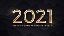 2021 Merry Christmas And Happy New Year Luxury Golden Elegant Text Vector Illustration Greeting Card Template. 3D Typography Happy New Years 2021 Vector Modern Chic Background
