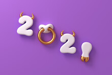 2021 With White Numbers As Bull Horns, Hoof And Nose Ring On Purple Background. Concept Of Chinese New Year Of The Ox.