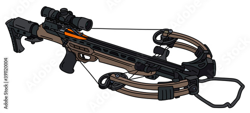 Photo The vectorized hand drawing of a modern sand sport crossbow