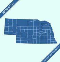 Nebraska Counties Map Vector Outlines