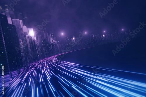3D Rendering of warp speed in hyper loop with blur light from buildings' lights in mega city at night Fototapet