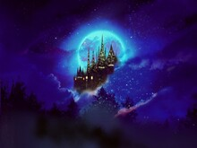 Silhouette Of European Beautiful Castle And Blue Full Moon In Starry Night