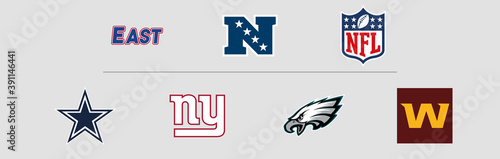 NFL National Football Conference East Division logos. Vector, transparent.
