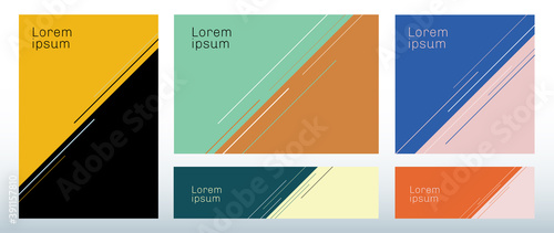 Cuadros en Lienzo Set of template abstract triangle background with diagonal line decoration