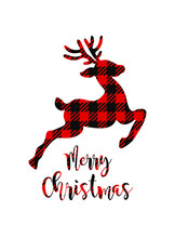 Christmas Card With Reindeer.Vector Deer Silhouette Drawing Illustration With Buffalo Red Black Gingham Lumberjack Tartan Checkered Plaid Pattern Background Texture.Merry Christmas Lettering.Gift .