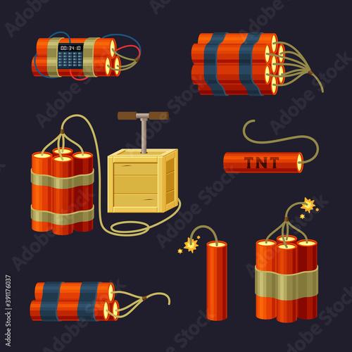 Obraz na plátně Bundle of explosives set