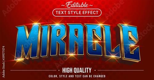Fototapeta 3D blue miracle text effect - Editable text effect obraz