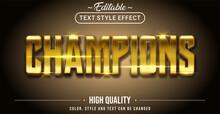 3D Golden Champion Text Effect - Editable Text Effect