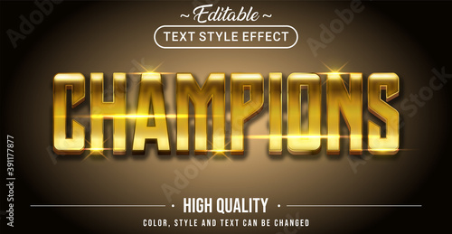 Canvas Print 3D Golden champion text effect - Editable text effect