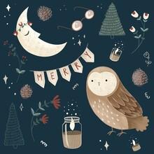 Christmas Pattern. Night, Moon...