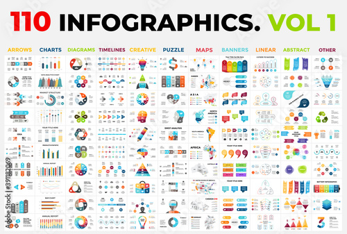 Obraz 110 Vector Infographics vol 1. Presentation templates includes 11 categories from maps, diagrams or banners to timelines, arrows and creative. - fototapety do salonu