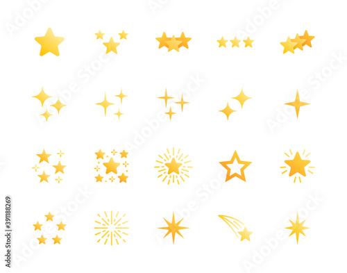 Fototapeta Stars flat glyph icons set