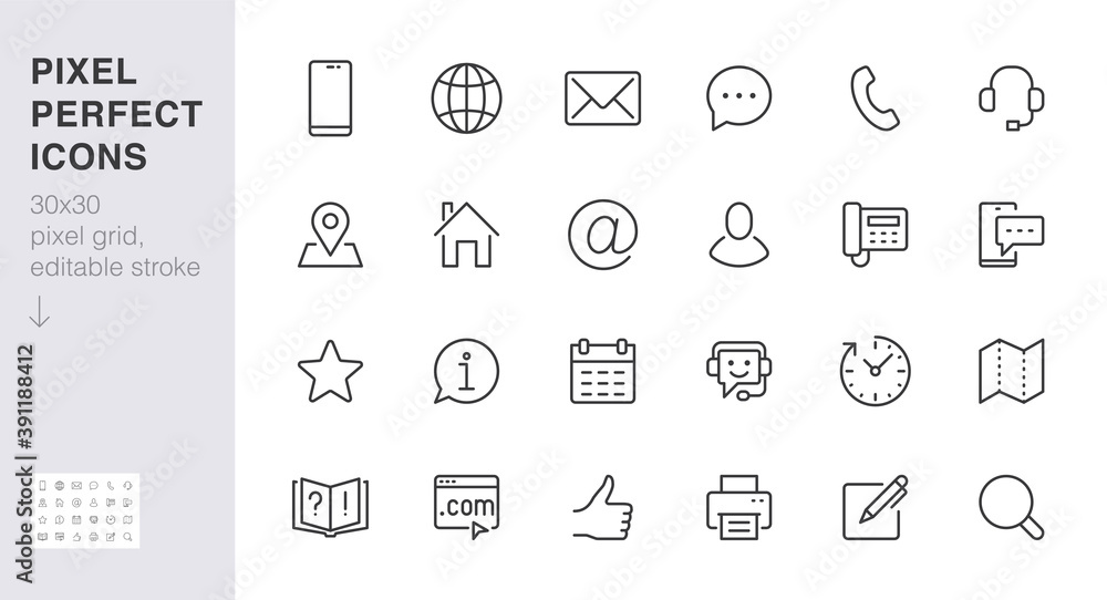 Fototapeta Contact us line icon set. Feedback, customer service, phone, email address, web site minimal vector illustration. Simple outline sign business card, landing page. 30x30 Pixel Perfect Editable Stroke